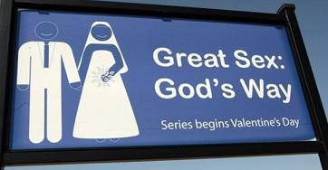A billboard for Great Sex - God's Way, erected by Daystar Church of Good Hope, Ala., is pictured on March 4, 2009. (Dave Martin,AP)