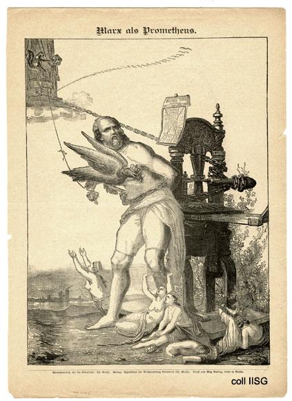 Marx én de drukpers door de censuur geketend en door de Pruisische adelaar gefolterd.